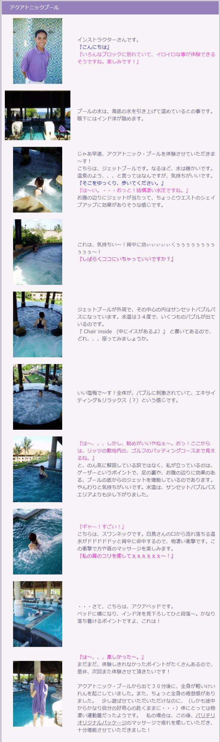 アクアトニック・プール 体験ルポの説明