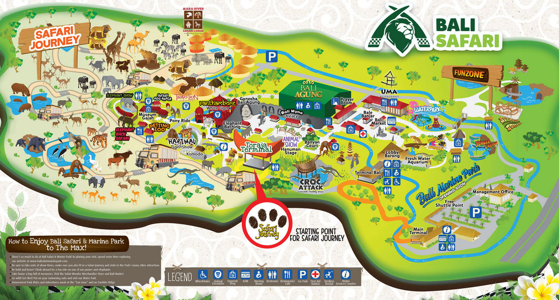 バリサファリ&マリンパークの園内マップ